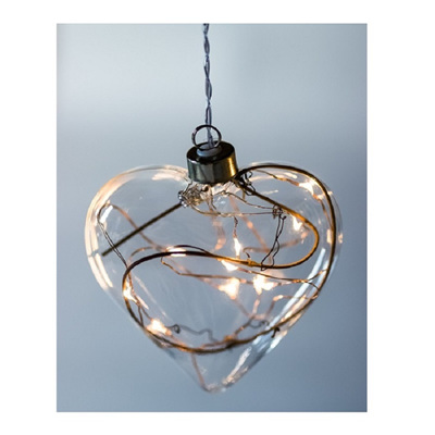 Heart Hanging Clear Glass Light with Twigs