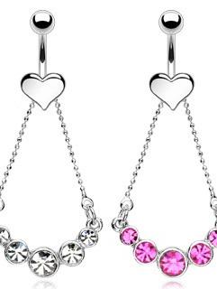 Heart Navel w/Multi CZ Chain Elegance Dangle
