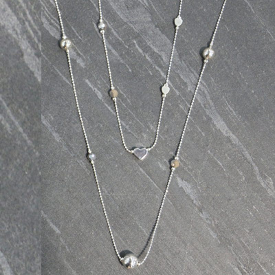 Heart Rondell Necklace - Silver