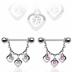 Hearts w/ Round CZ  Nipple Shield