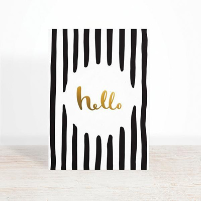 Hello Greeting Card Gold Foil