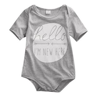 Hello I'm New Here Romper - Grey