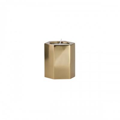 Hex Tea Light Holder Brass Small
