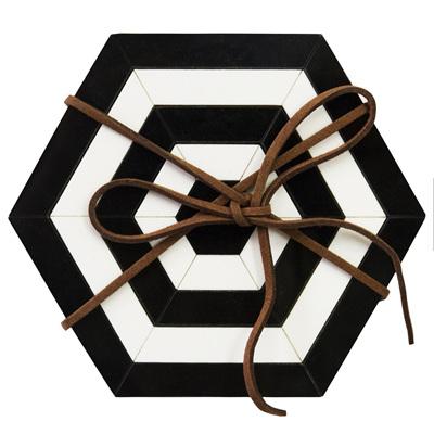 Hexagon Coasters - Set of 4 Black/White