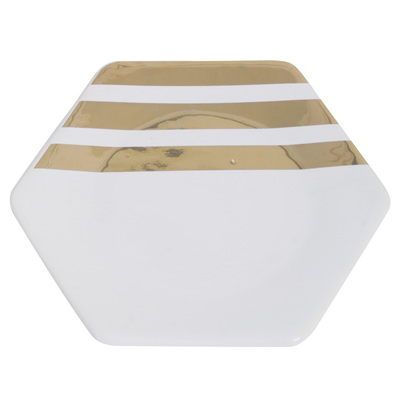 Hexagonal Decorative Dish with Gold Stripes