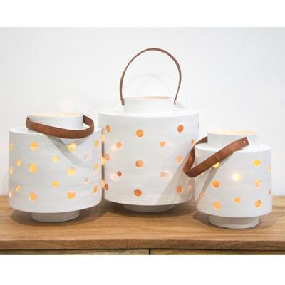 Holly Bamboo Lantern - White 25cmh