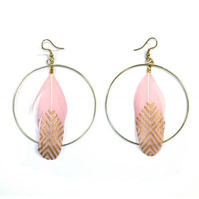 Hoop Feather Earrings - Pink