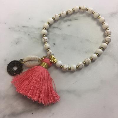 Howlite Tassel Bracelet - Dusky Pink