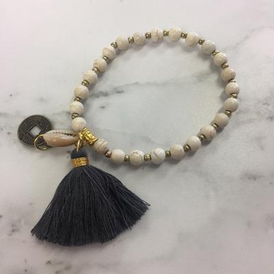 Howlite Tassel Bracelet - Slate