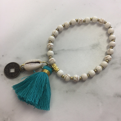 Howlite Tassel Bracelet - Teal