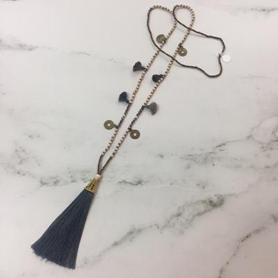 Howlite Tassel Necklace - Slate