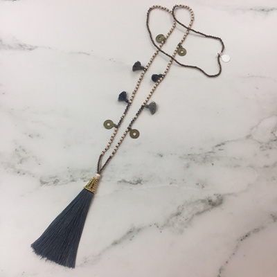 Howlite Tassel Necklace - Slate WAS $39.90