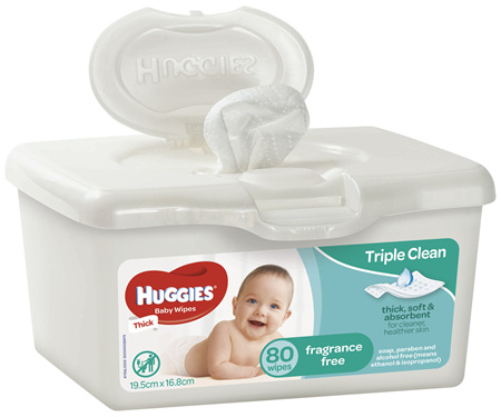 Huggies Baby Wipes, Fragrance Free, Refillable Tub, 80 Wipes