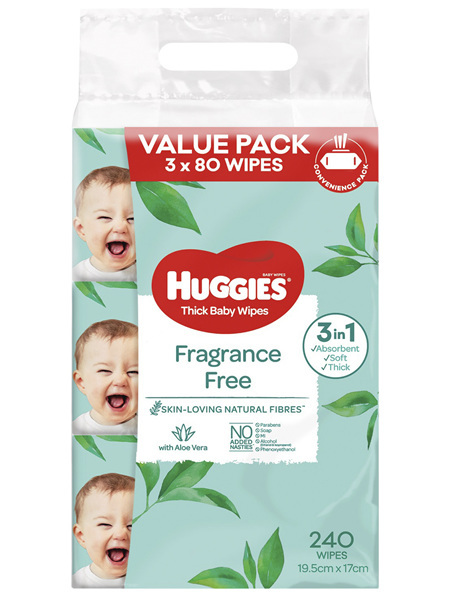 Huggies Fragrance Free Baby Wipes Value Bundle Pack 3X80 PK