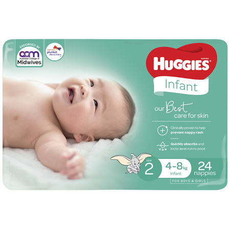 Huggies Infant Nappies Size 2 (4-8kg), 24 Pack
