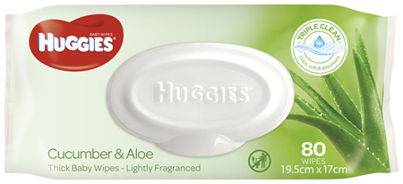 Huggies Thick Baby Wipes Cucumber & Aloe 80 Pack