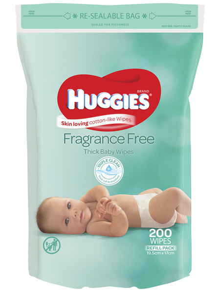 Huggies Thick & Soft Baby Wipes Refill Fragrance-Free 200 Pack
