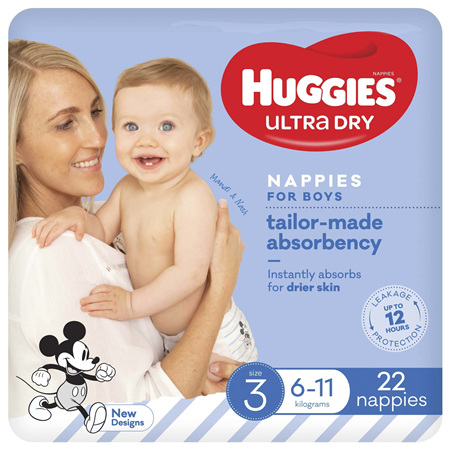 Huggies Ultra Dry Nappies, Boys, Size 3 Crawler (6 - 11kg), 22 Nappies