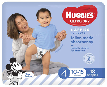 Huggies Ultra Dry Nappies Boys Size 4 (10-15kg) 18 Pack