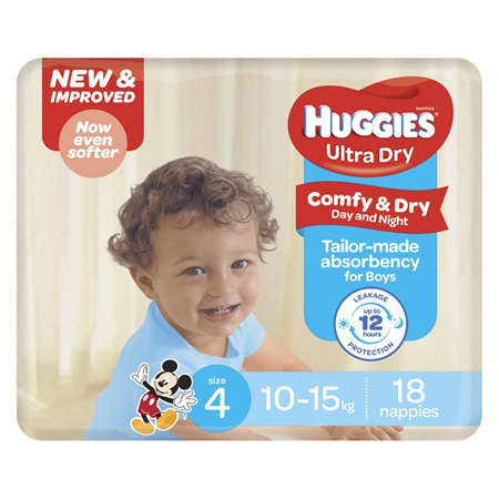 Huggies Ultra Dry Nappies, Boys, Size 4 Toddler (10 - 15kg), 18 Nappies