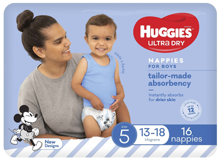 Huggies Ultra Dry Nappies, Boys, Size 5 Walker (13 - 18kg), 16 Nappies