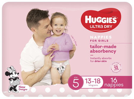 Huggies Ultra Dry Nappies Girl Size 5 (13-18kg) 16 Pack
