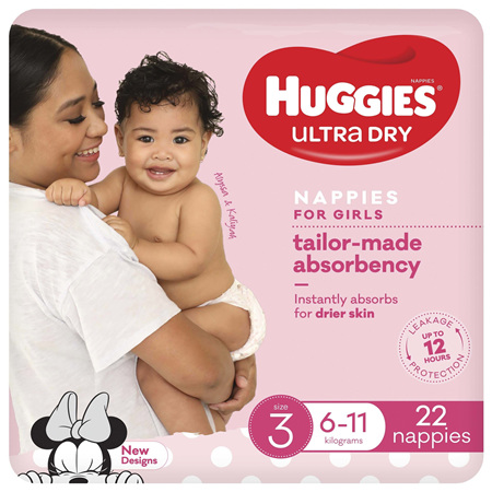 Huggies Ultra Dry Nappies, Girls, Size 3 (6 - 11kg), 22 Nappies