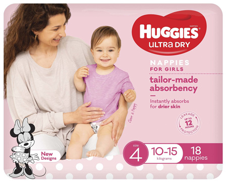 Huggies Ultra Dry Nappies Girls Size 4 (10-15kg) 18 Pack