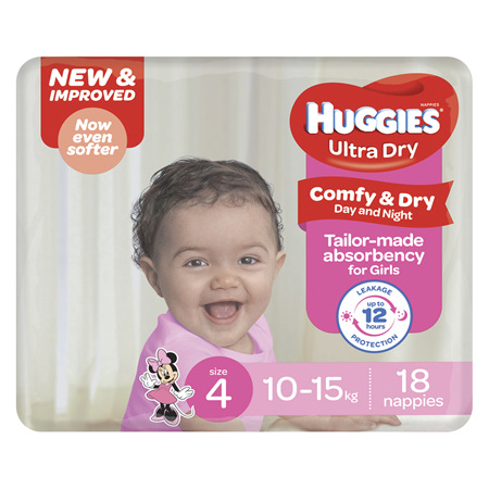 Huggies Ultra Dry Nappies, Girls, Size 4 Toddler (10 - 15kg), 18 Nappies
