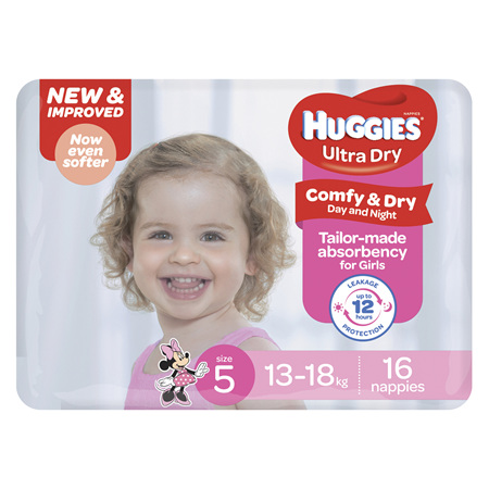 Huggies Ultra Dry Nappies, Girls, Size 5 Walker (13 - 18kg), 16 Nappies