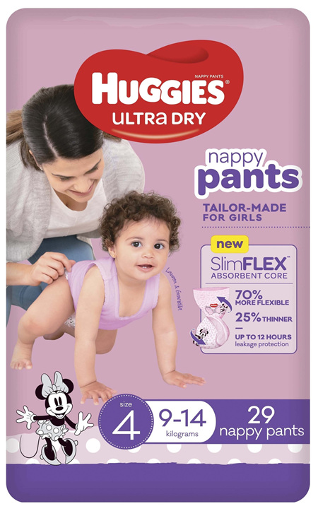 Huggies Ultra Dry Nappy Pants Girl Size 4 (9-14kg) 29 Pack