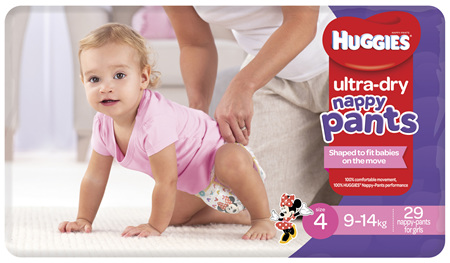 Huggies Ultra Dry Nappy Pants, Girls, Size 4 Toddler (9 - 14kg), 29 Nappy Pants