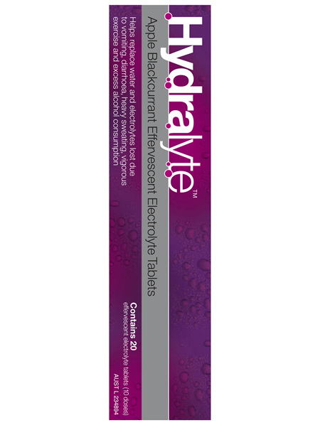 Hydralyte Apple Blackcurrant Effervescent Electrolyte Tablets 20 Pack