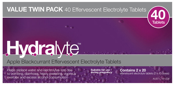 Hydralyte Apple Blackcurrant Effervescent Electrolyte Tablets 40 Pack