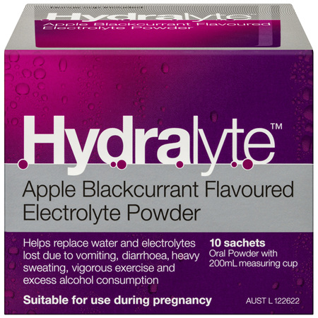 Hydralyte Apple Blackcurrant Flavoured Electrolyte Powder 10 Pack