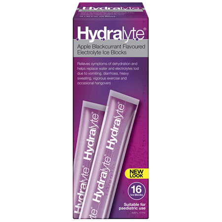 Hydralyte Apple Blackcurrant Flavoured Electrolyte Ice Blocks 16 x 62.5mL