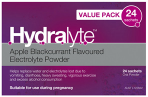 Hydralyte Apple Blackcurrant Flavoured Electrolyte Powder 24 Pack