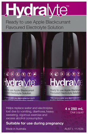 Hydralyte Apple Blackcurrant Flavoured Electrolyte Liquid 4x250mL