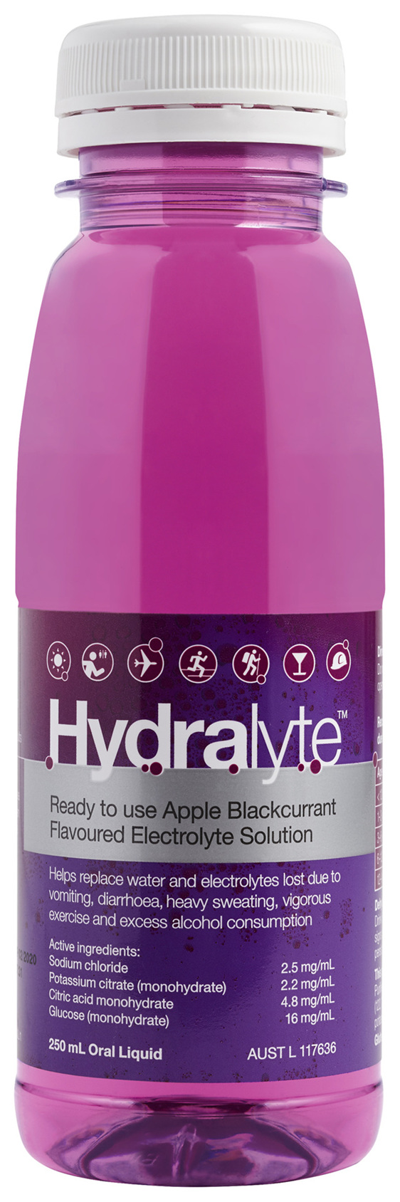 Hydralyte Apple Blackcurrant Flavoured Electrolyte Liquid 250mL