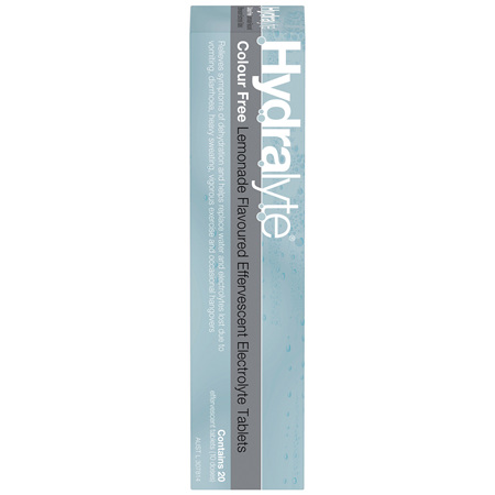 Hydralyte Colour Free Lemonade Effervescent Tablets 20 Pack