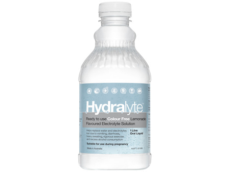 Hydralyte Colour Free Lemonade Flavoured Electrolyte Liquid 1L