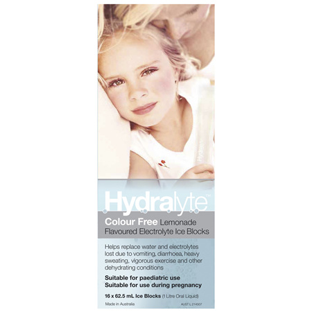 Hydralyte Colour Free Lemonade Flavoured Electrolyte Ice Blocks 16 x 62.5mL