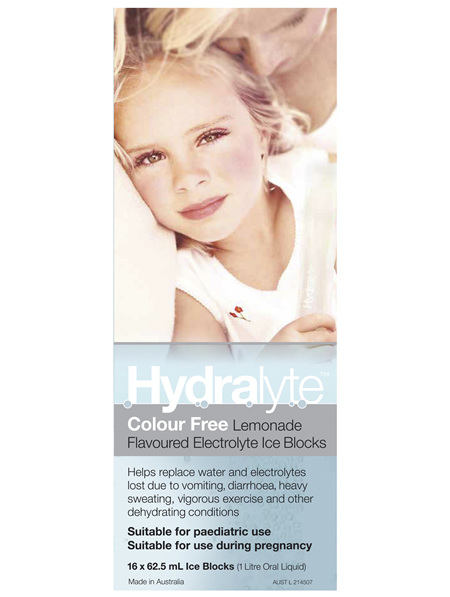 Hydralyte Colour Free Lemonade Flavoured Electrolyte Ice Blocks 16 x 62.5mL