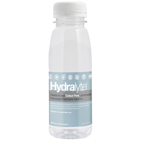 Hydralyte Colour Free Lemonade Flavoured Electrolyte Liquid 250mL Single