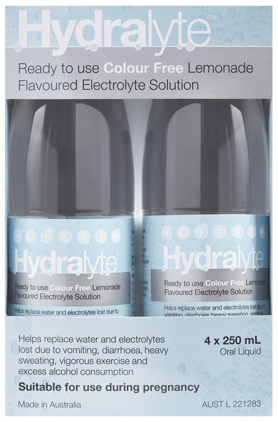 Hydralyte Colour Free Lemonade Flavoured Electrolyte Liquid  4 x 250mL
