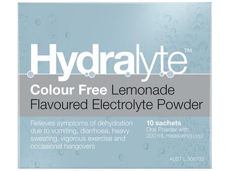 Hydralyte Colour Free Lemonade Powder Sachets 4.9 x 10