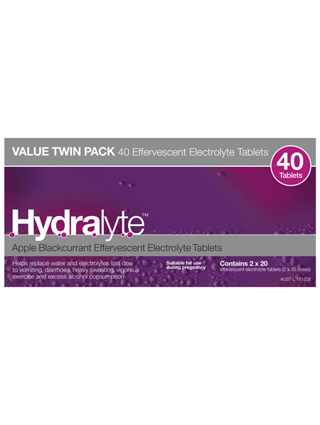 Hydralyte Effervescent Electrolyte Tablets Apple Blackcurrant 40 Tablets