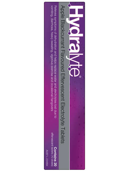 Hydralyte Effervescent Electrolyte Tablets Apple Blackcurrant 20 Tablets