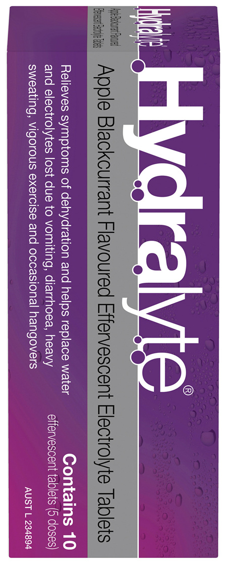 Hydralyte Effervescent Electrolyte Tablets Apple Blackcurrant 10 Tablets
