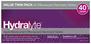 Hydralyte Effervescent Electrolyte Tablets Apple Blackcurrant 40 Tablets
